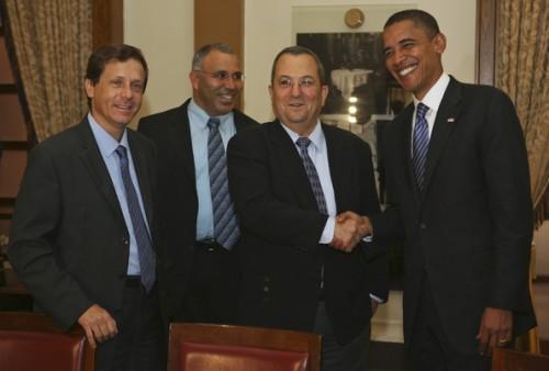 With the big boys: Herzog (far left) with Barak, Obama