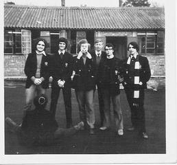 Sixth Formers in front of the Sixth Form Block, circa 1972